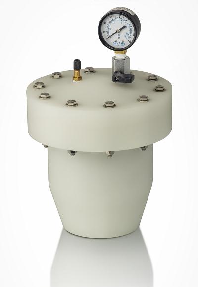 pulsation dampener and surge suppressor in natural polypropylene