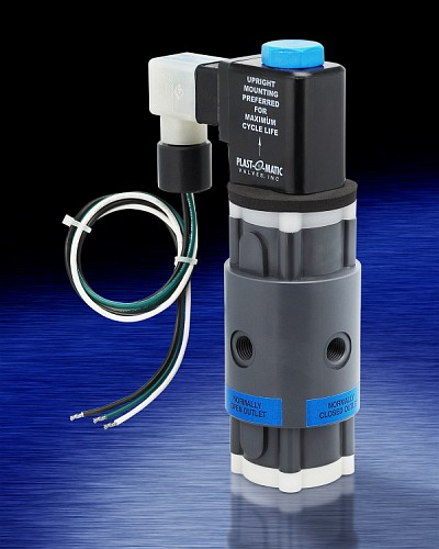 Series THP is a 3-way solenoid valve for all types of nasty chemicals, as well as ultra-pure liquids.