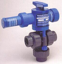 3-way actuated Ball Valves in PVC and CPVC for acid and other aggressive chemicals, shown here with automatic spring return